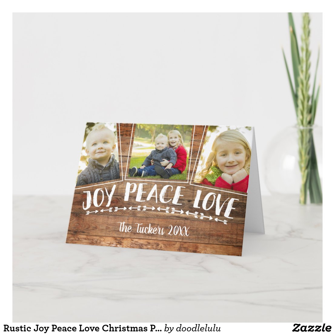 Rustic Joy Peace Love Christmas Photo Collage Holiday Card