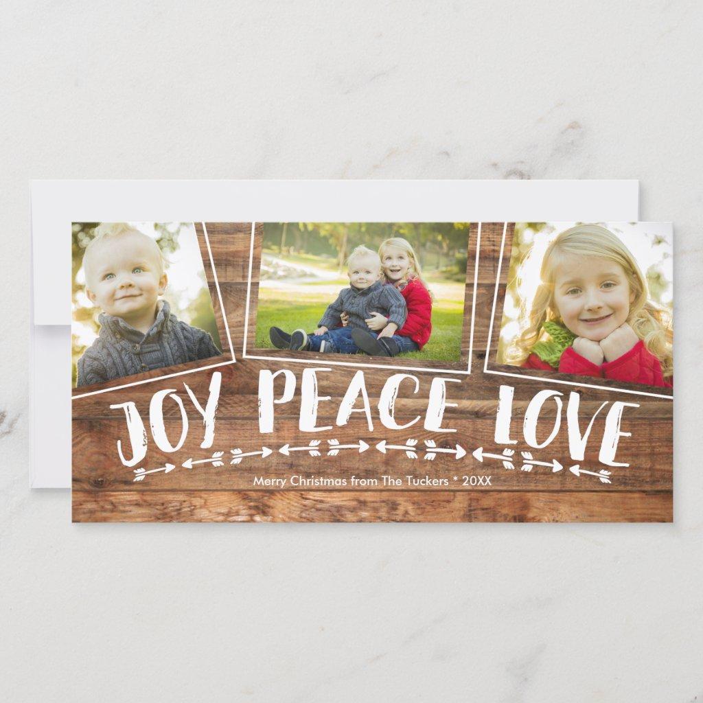 Rustic Joy Peace Love Wood Christmas Photo Holiday Card