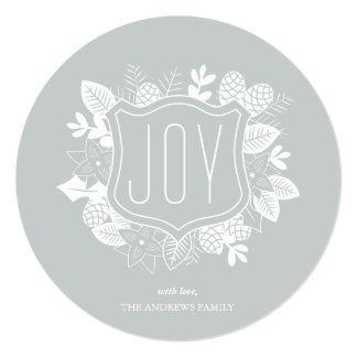 Rustic Joy Round Shimmer Silver Holiday Card