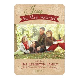Rustic Joy To The World Christmas Flat Card