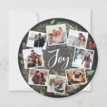 "Rustic Joy Wreath | Photo Collage Christmas Holiday Card<br><div class=""desc"">A festive holiday card design in a unique round shape that features eight of your favorite photos arranged in a round wreath design accented by green watercolor foliage, pine cones and red holly berries on a chalkboard background. ""Joy"" appears in the center in white hand lettered brush script typography. Personalize...</div>"