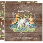 Rustic Jungle Animals Baby Shower Invitation