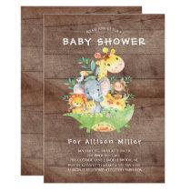 Rustic Jungle Animals Baby Shower Invitations
