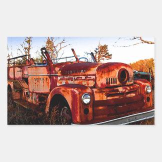 Rustic Junkyard Firetruck Rectangular Sticker