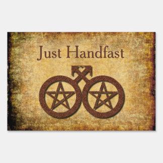 Rustic Just Handfast Sign Gay Wiccan Wedding