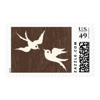 Rustic Just Married Brown  Wood Lovebirds Doves Postage
