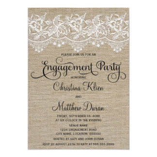 Rustic Jute and Lace Engagement Party 5x7 Paper Invitation Card