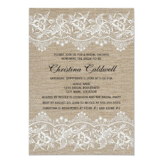 Rustic Jute and Lace Look Bridal Shower Card