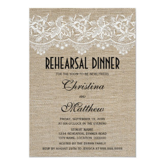 Rustic Jute and Lace Rehearsal Dinner Card