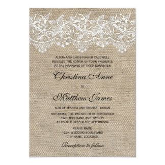 Rustic Jute and Lace Wedding Card