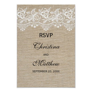 Rustic Jute and Lace Wedding RSVP Card