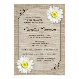 Rustic Jute and White Daisy Bridal Shower Card