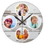 Rustic Keepsake Family Multi Photo Large Clock