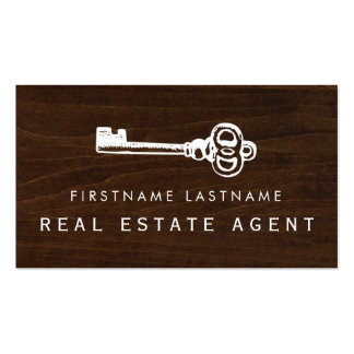 Rustic Key Real Estate Agent Business Card