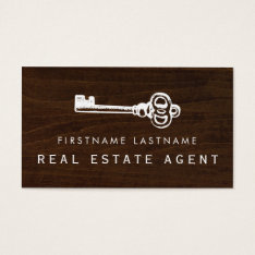 Rustic Key Real Estate Agent Business Card at Zazzle
