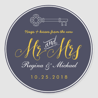 Rustic Key Script Mr and Mrs Wedding Favor Sticker