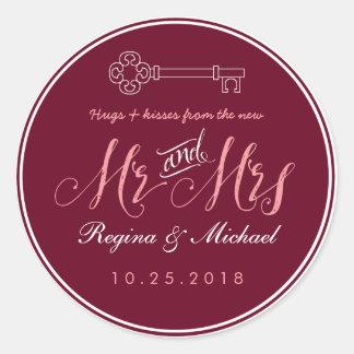 Rustic Key Script Mr Mrs Wedding Favor Sticker
