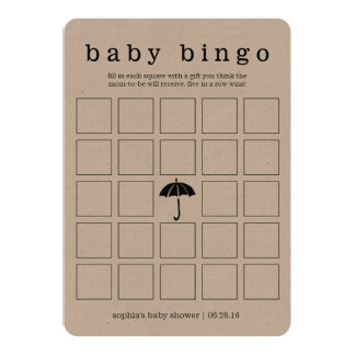 Rustic Kraft Baby Shower Double-Sided Game Card