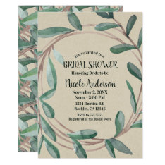 Rustic Kraft Botanical Wreath Leaf Bridal Shower Card at Zazzle