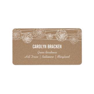 Rustic Kraft Brown Paper Flowers Wedding Label