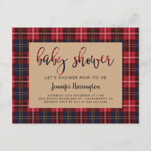 Rustic Kraft Buffalo Plaid Lumberjack Baby Shower Invitation Postcard