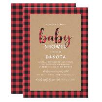 Rustic Kraft & Buffalo Plaid Script Baby Shower Card