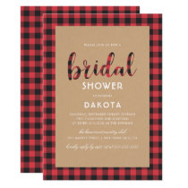 Rustic Kraft & Buffalo Plaid Script Bridal Shower Card
