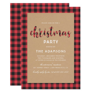 Rustic Kraft Buffalo Plaid Script Christmas Party Card at Zazzle