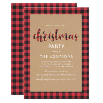 Rustic Kraft Buffalo Plaid Script Christmas Party Invitation