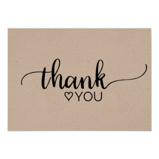 Rustic Kraft Calligraphy Thank You Card