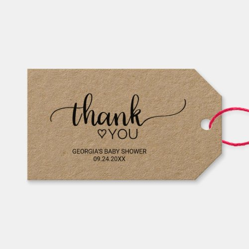 Rustic Kraft Calligraphy Thank You Favor Tags