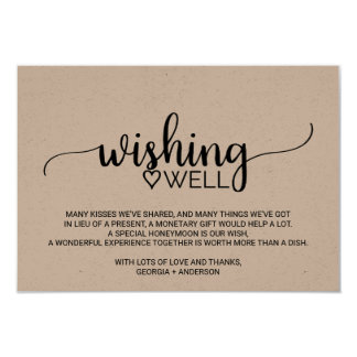 Rustic Kraft Calligraphy Wedding Wishing Well Card