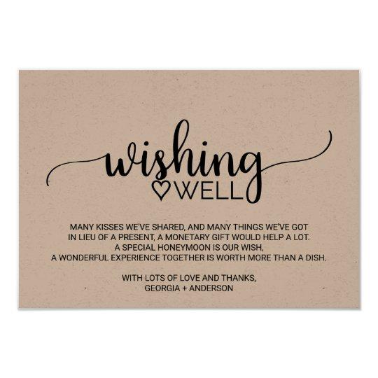 Wedding Wishing Well Invitations: Rustic Kraft Calligraphy Wedding Wishing Well Card