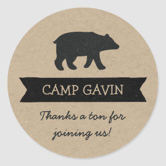 Rustic kraft camping birthday party favor stickers