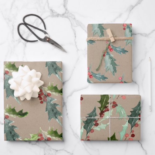 Rustic Kraft Christmas Holly & Red Berries Wrapping Paper Sheets