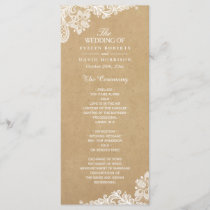 Rustic Kraft Classy White Lace Wedding Program