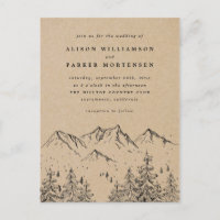 Rustic Kraft Hand-drawn Mountains & Trees Wedding Invitation Postcard