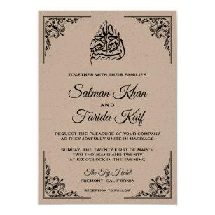 Rustic Kraft Ic Muslim Wedding Invitation