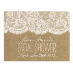 Rustic Kraft & Lace Bridal Shower Recipe Cards