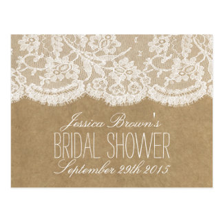 Rustic Kraft & Lace Bridal Shower Recipe Cards Postcard