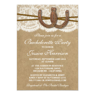 Rustic Kraft & Lace Horseshoe Bachelorette Party Card
