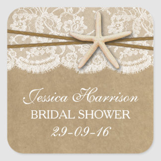 Rustic Kraft, Lace & Starfish Beach Bridal Shower Square Sticker