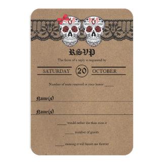 Rustic Kraft & Lace Sugar Skull Wedding RSVP cards
