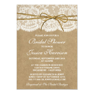 Rustic Kraft, Lace & Twine Bow Bridal Shower Card