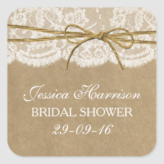 Rustic Kraft, Lace & Twine Bow Bridal Shower Square Sticker