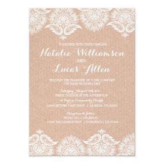 "Rustic Kraft Lace Wedding Invitation Invitations 5"" X 7"" Invitation Card"