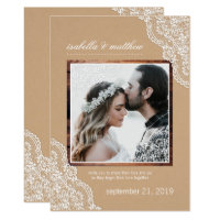 Rustic Kraft Lace & Wood Photo Wedding Card