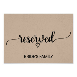 Rustic Kraft Modern Calligraphy Reserved Sign Card