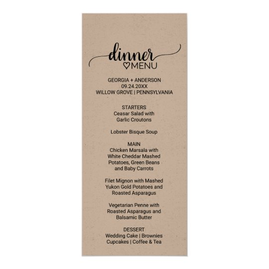 Rustic kraft paper calligraphy wedding dinner menu card zazzle rustic kraft paper calligraphy wedding dinner menu card stopboris