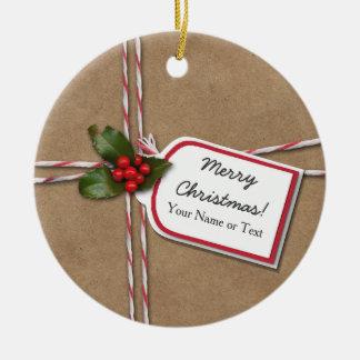 Rustic Kraft Paper Christmas Gift & Holly Photo Ceramic Ornament